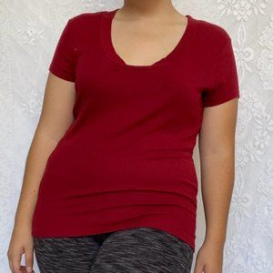 The Limited Deep Red Ribbed Short Sleeve Tee